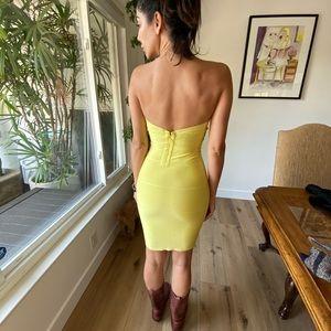 Herve leger yellow bandage dress